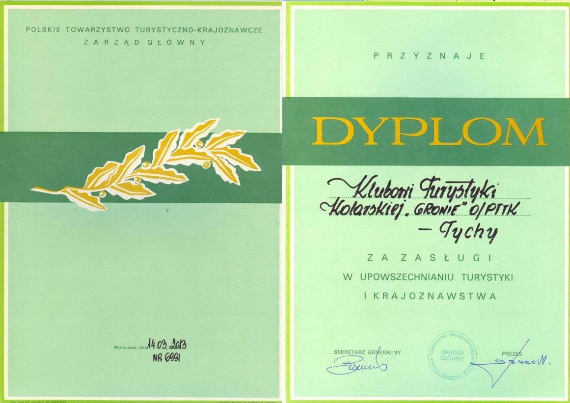 Dyplom dla KTK Gronie Tychy